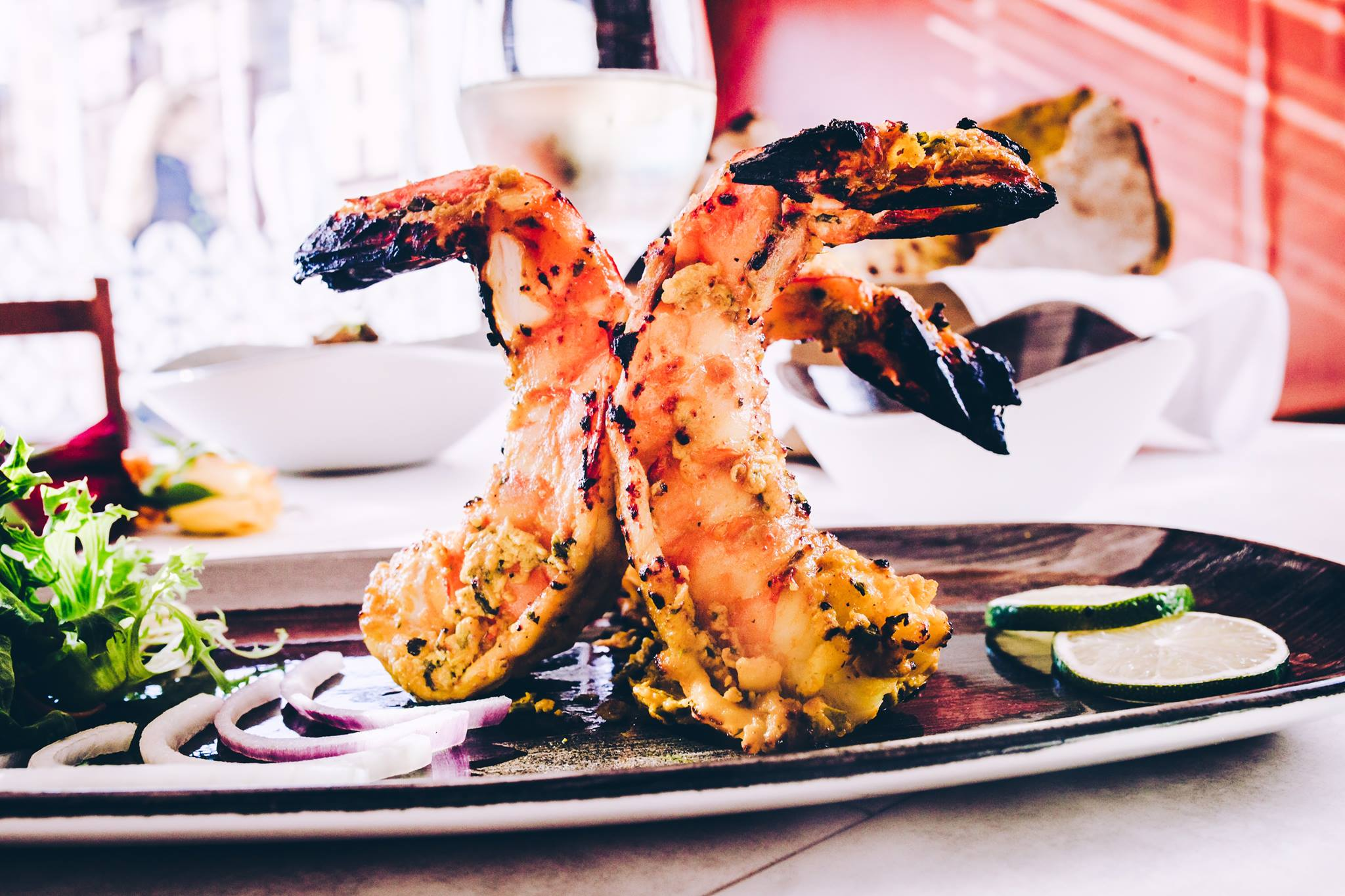 Grilled jumbo prawns plated at the Dhabba, one of the best restaurants Merchant City Glasgow.